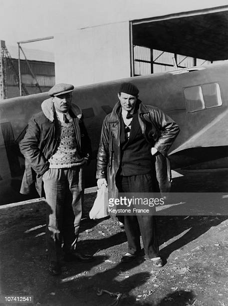 Jean Mermoz And Paillard In Front Of His Aircraft At Oran In Algeria