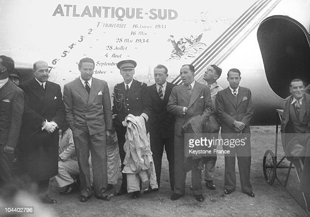 Jean MERMOZ arrived at Bourget on board his trimotor ARCENCIEL He was greeted by the Aviation Minister General DENAIN and posed with his crew...