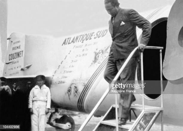 Jean MERMOZ climbed out of the trimotor 'ARCENCIEL' during a stopover at Bourget The ARCENCIEL was carrying out its 8th SouthAtlantic crossing