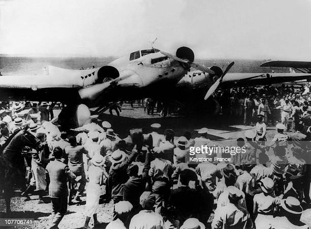 Jean Mermoz Reaching Buenos Aires Argentina Aboard Arc En Ciel Couzinet 70 AircraftAfter Being The First One To Fligh From France To South America He...