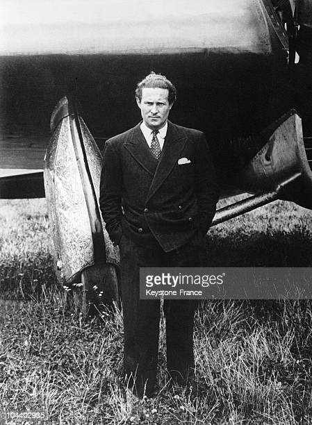 Jean MERMOZ was named Inspector General and pilot of Air France He is pictured here standing before his plane