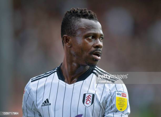 Jean Michael Seri of Fulham during the Sky Bet Championship match between Blackpool and Fulham at Bloomfield Road on September 11, 2021 in Blackpool,...