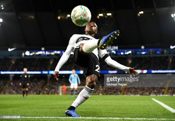 Jean Michael Seri of Fulham reaches to control the ball during the Carabao Cup Fourth Round match between Manchester City and Fulham at Etihad...