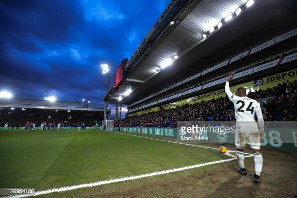 Jean Michael Seri of Fulham takes a corner during the Premier League match between Crystal Palace and Fulham FC at Selhurst Park on February 02 2019...