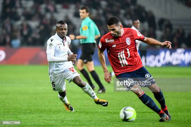 Jean Michael Seri of Nice and Thiago Maia of Lille during the Ligue 1 match between Lille OSC and OGC Nice at Stade Pierre Mauroy on December 20 2017...