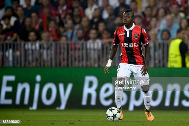Jean Michael Seri of OGC Nice in action during the UEFA Champions League Qualifying PlayOffs Round Second Leg match between OGC Nice and SSC Napoli...
