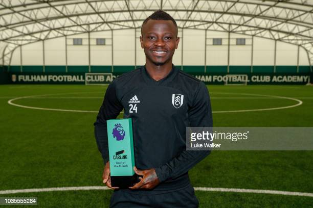Jean Michael Seri poses with the Carling Goal of the Month Award for August 2018 at Fulham FC Training Ground on September 12 2018 in New Malden...