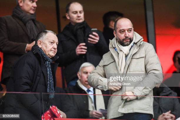 Jean Michel Aulas president of Lyon and Gerard Lopez president of Lille during the Ligue 1 match between Lille OSC and Olympique Lyonnais at Stade...