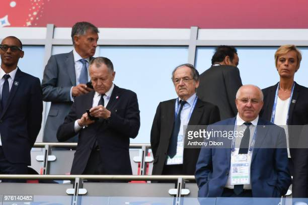 Jean Michel Aulas president of Lyon and Noel La Graet president of Football French Federation during the 2018 FIFA World Cup Russia group C match...