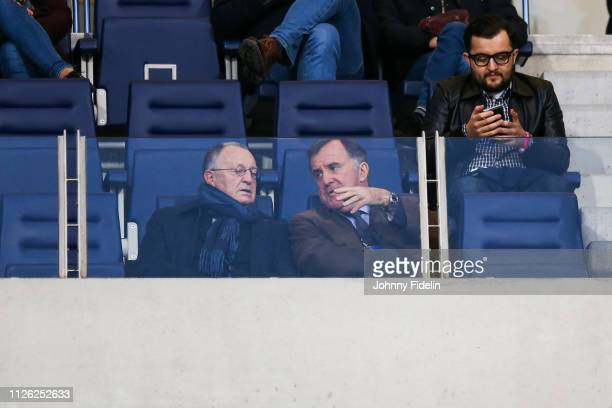 Jean Michel Aulas, president of Lyon and Pierre Ferracci president of Paris FC during the women's division 1 match between Paris FC and Lyon at Stade...
