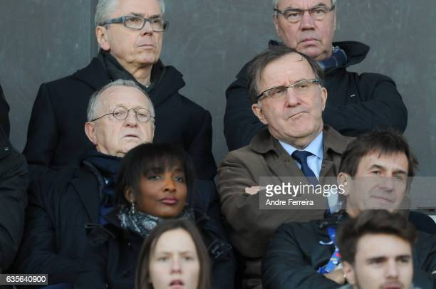 Jean Michel Aulas president of Lyon and Pierre Ferracci president of Paris FC during the Women's Division 1 match between Juvisy and Lyon on February...