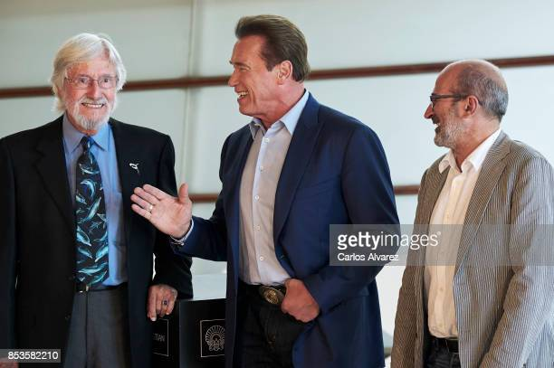Jean Michel Cousteau Arnold Schwarzenegger and Jean Jacques Mantello attend the 'Wonder Of The Sea 3D' photocall at the Kursaal Palace during the...