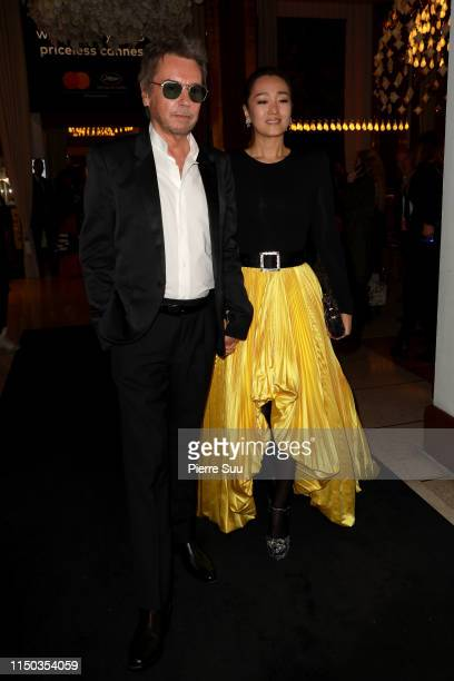 Jean Michel Jarre and Gong Li are seen at Le Majestic Hotel during the 72nd annual Cannes Film Festival at on May 19 2019 in Cannes France