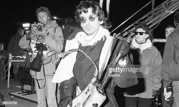 Jean Michel Jarre musician and producer pictured holding a musicial instrument 12th October 1988