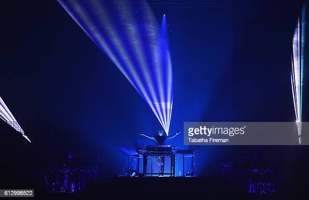 Jean Michel Jarre performs live on stage at Brighton Centre on October 6 2016 in Brighton England