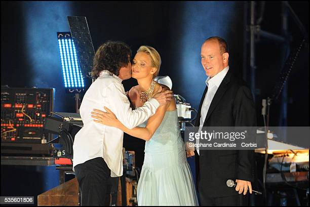Jean Michel Jarre Princess Charlene of Monaco and Prince Albert II of Monaco appear on stage during the Jean Michel Jarre concert celebrating the...