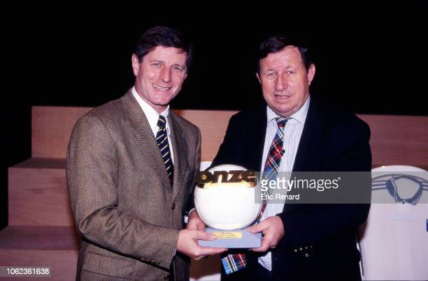 Jean Michel Larque and Guy Roux coach of Auxerre during the Onze d'Or ceremony on December 8 1996 in Paris