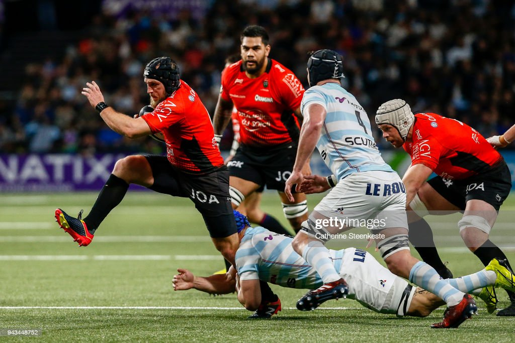 Jean Monribot #6 of RC Toulon is tackled by Wenceslas Lauret #6 of Racing 92 during the French Top 14 match between Racing 92 and RC Toulon at U Arena on April 8, 2018 in Nanterre, France.