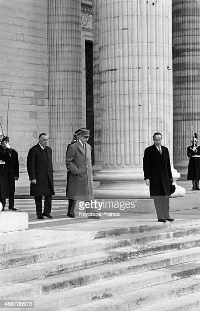 Jean Moulin's Ashes In The Pantheon president Charles de Gaulle and prim minister Georges Pompidou at the end of the ceremony on December 19 1964