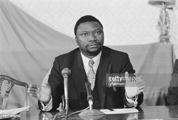 Jean Nguza Karl-i-Bond , the Foreign Minister of Zaire, holds a press conference at Zaire's embassy in London, UK, 2nd October 1972. He is in the...