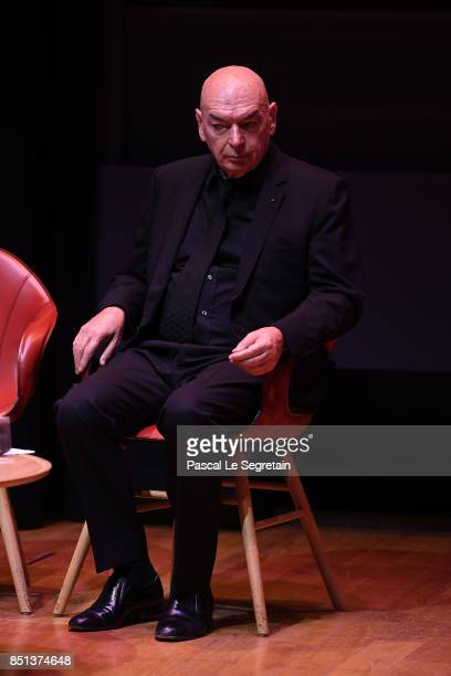 Jean Nouvel Architect of Louvre Abu Dhabi is seen on stage during the press presentation of 'Louvre Abu Dhabi' at Musee du Louvre on September 22...