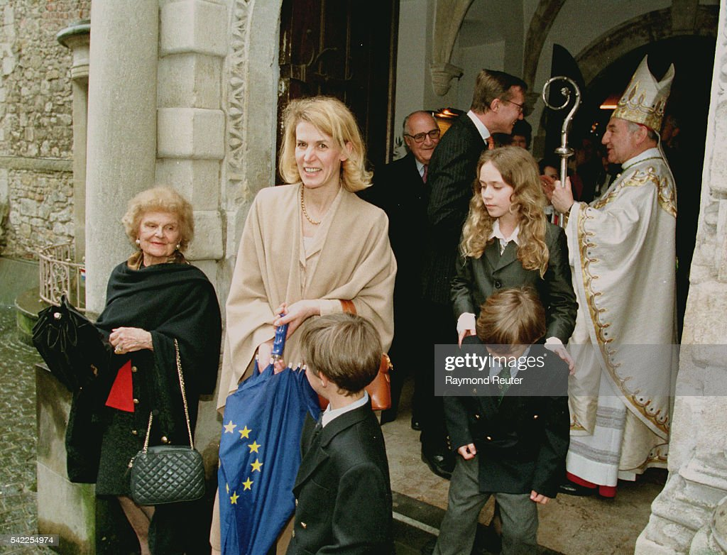 Jean of Luxembourg with his wife Helene and their children leaving the church.