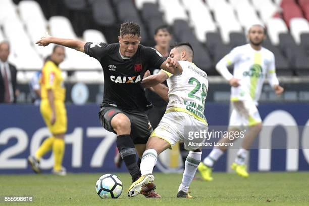 Jean of Vasco da Gama battles for the ball with Alan Ruschel of Chapecoense during the match between Vasco da Gama and Chapecoense as part of...