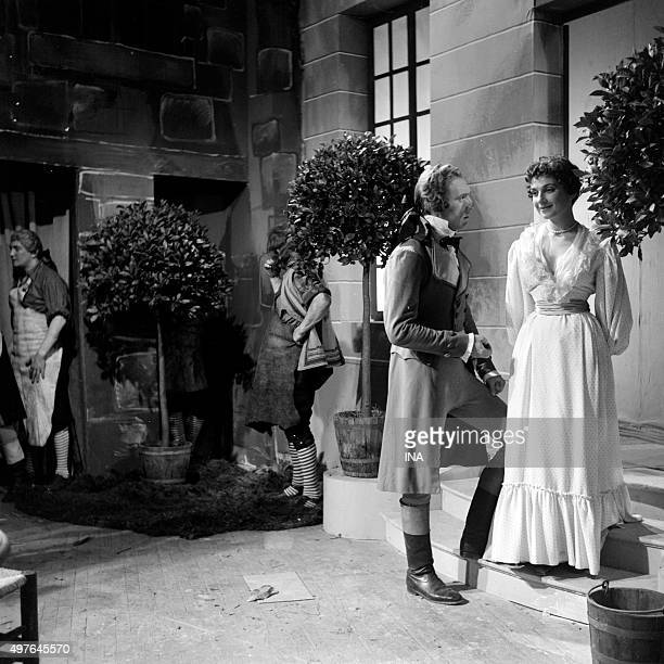 Jean Paqui and Françoise Spira in a scene of the drama realized by Maurice Cazeneuve 'The Knight of MaisonRouge'