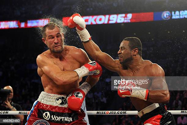 Jean Pascal lands a head shot to Sergey Kovalev during their unified light heavyweight championship bout at the Bell Centre on March 14, 2015 in...