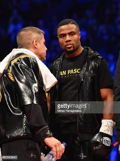 Jean Pascal looks on against Eleider Alvarez prior to the WBC light heavyweight silver championship match at the Bell Centre on June 3 2017 in...