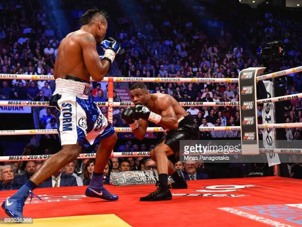 Jean Pascal sidesteps Eleider Alvarez during the WBC light heavyweight silver championship match at the Bell Centre on June 3 2017 in Montreal Quebec...