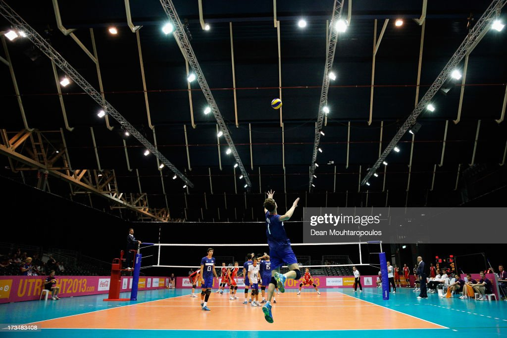 Jean Patry of France jumps to serve during the boys Volleyball match between France and Belgium on Day 1 of the European Youth Olympic Festival held at Jaarbeurs Utrecht on July 15, 2013 in Utrecht, Netherlands.