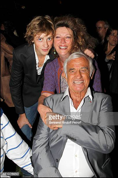 Jean Paul Belmondo actor Michel Beaune Caroline Beaune and son at Opening Party For The Paul Belmondo Museum In BoulogneBillancourt