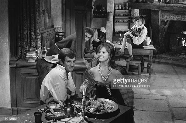 Jean Paul Belmondo and Claudia Cardinale at the set of the movie 'Cartouche' by Philippe de Broca in 1961