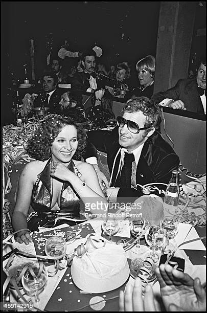 Jean Paul Belmondo and his companion Laura Antonelli at the Alcazar in Paris during 1976 New Year's Eve