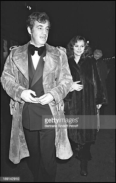 Jean Paul Belmondo and his companion Laura Antonelli leave Maxim's restaurant in Paris after New Year's Eve