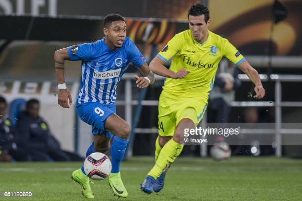 Jean Paul Boetius of KRC Genk Jeremy Perbet of KAA Gentduring the UEFA Europa League round of 16 match between KAA Gent and KRC Genk on March 09 2017...