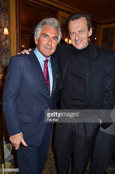 Jean Paul Enthoven and a jury member attend the Procope Des Lumieres' Literary Awards First Edition at the Procope on January 30 2012 in Paris France