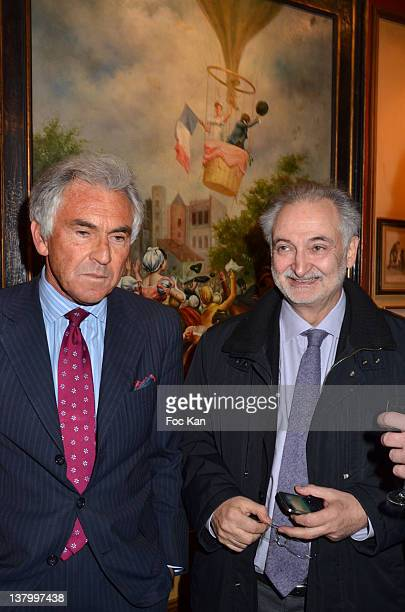 Jean Paul Enthoven and Jacques Attali attend the Procope Des Lumieres' Literary Awards First Edition at the Procope on January 30 2012 in Paris France