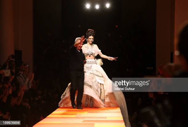 Jean Paul Gaultier and a Wedding dress Model walk the runway during the JeanPaul Gaultier Spring/Summer 2013 HauteCouture show as part of Paris...