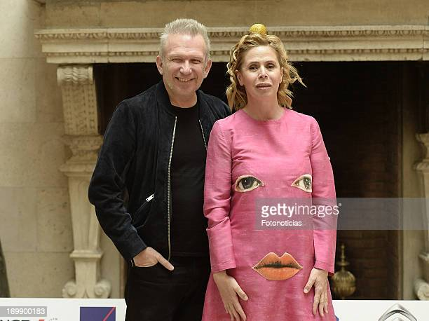 Jean Paul Gaultier and Agatha Ruiz de la Prada attend the 'Prix Dialogo' press conference at the French Embassy on June 4 2013 in Madrid Spain