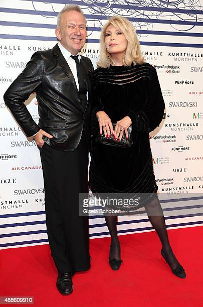 Jean Paul Gaultier and Amanda Lear during the opening of the exhibition Jean Paul Gaultier 'From The Sidewalk To The Catwalk' at Kunsthalle on...