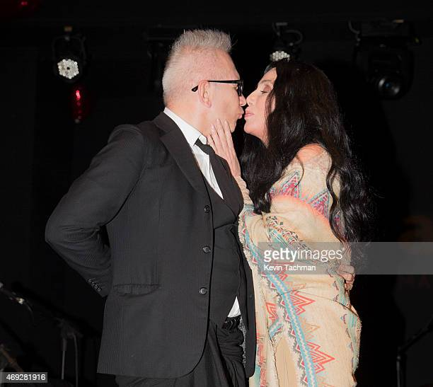 Jean Paul Gaultier and Cher attend the 5th Annual amfAR Inspiration Gala at the home of Dinho Diniz on April 10 2015 in Sao Paulo Brazil