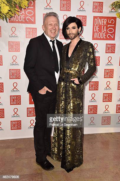 Jean Paul Gaultier and Conchita Wurst attend the Sidaction Gala Dinner 2015 at Pavillon d'Armenonville on January 29, 2015 in Paris, France.