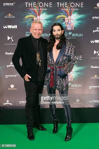 Jean Paul Gaultier and Conchita Wurst attend the 'THE ONE Grand Show' World Premiere Dancers at FriedrichstadtPalast on October 6 2016 in Berlin...