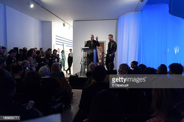 Jean Paul Gaultier and exhibition curator ThierryMaxime Loriot attend the press preview for The Fashion World of Jean Paul Gaultier From the Sidewalk...