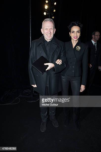 Jean Paul Gaultier and Farida Khelfa attend the Saint Laurent show as part of the Paris Fashion Week Womenswear Fall/Winter 20142015 on March 3 2014...