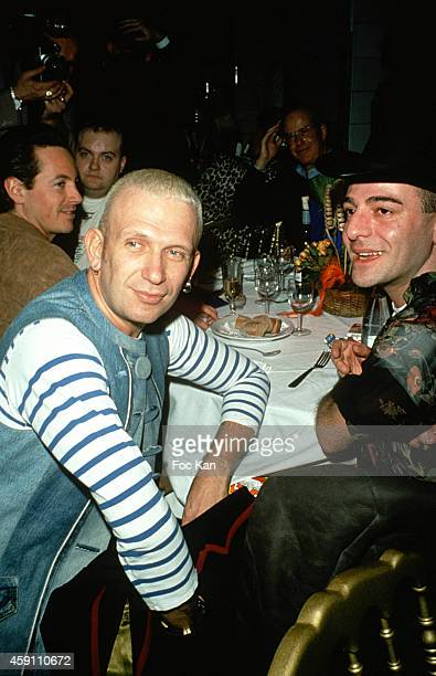 Jean Paul Gaultier and John Galliano attend a fashion week Party at Les Bains Douches in the 1990s in Paris France