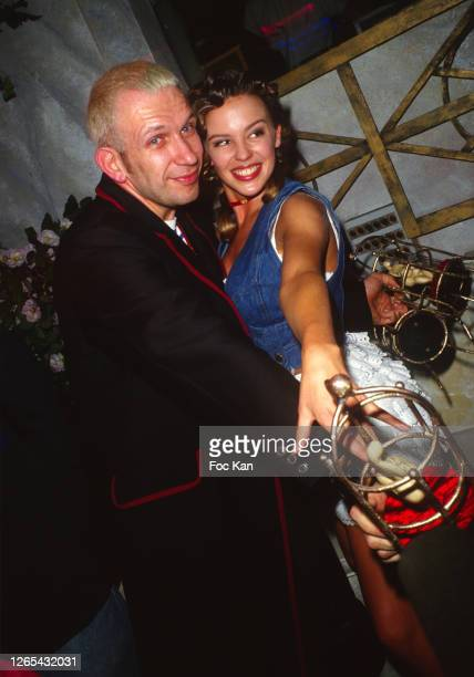 Jean Paul Gaultier and Kylie Minogue during a Paris Fashion Week in the 1990's Paris France