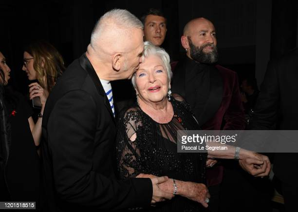 Jean Paul Gaultier and Line Renaud attend Sidaction Gala Dinner 2020 At Pavillon Cambon on January 23 2020 in Paris France